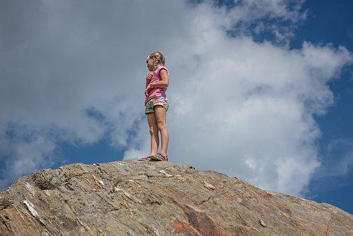 Child, Girl, Blond, Mountain, Rock, Stone, Top