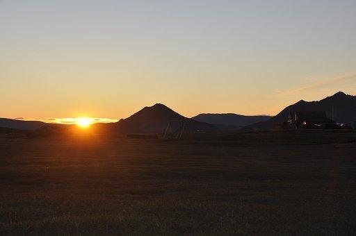 West, Sun, Colors, Iceland, Desert, Summer