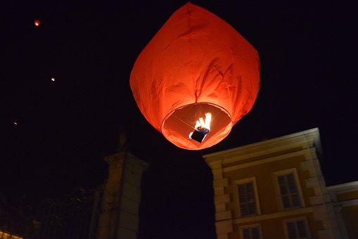 Hot-air Ballooning, Minimongolfiera, Fire, Night, Light