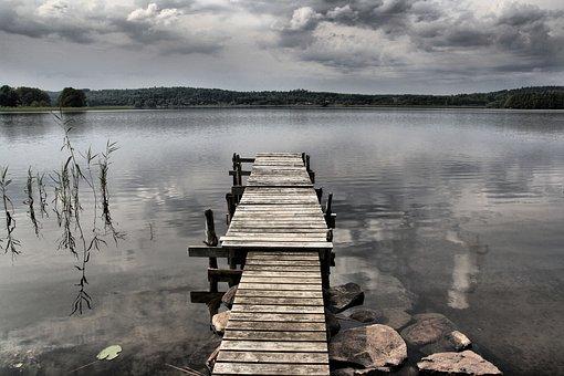 Bridge, Lake, Old Bridge, Colors, Fävern, Kungsäter