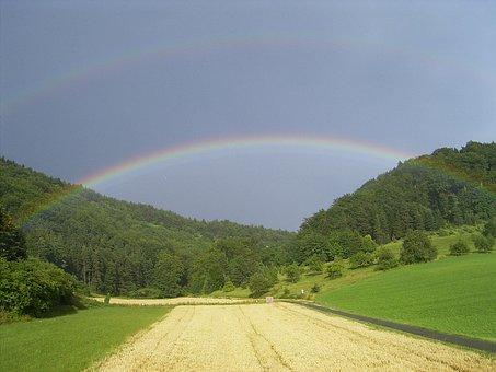 Rainbow, Field, Forest, Sky, Landscape