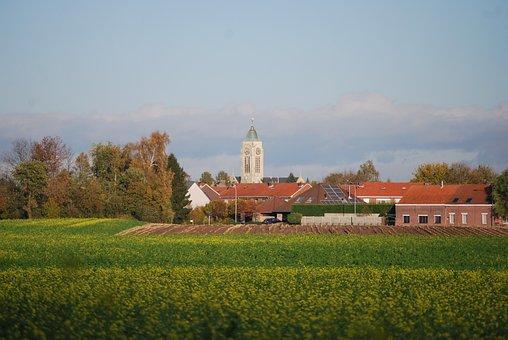 Village, Church, Zemst, Field, Church Building