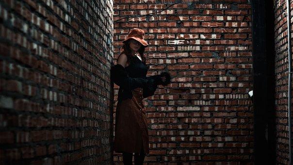 Girl In The Hat, Skirt, In Glasses, Beautiful, Brick