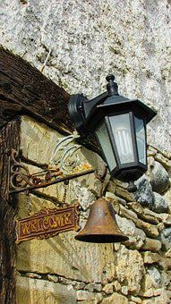 Welcome Sign, Sign, Bell, Lamp, Rustic, Tavern