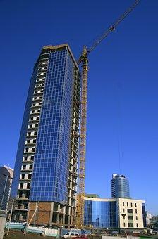City, Construction, Building, Crane Hoisting, Jib Crane