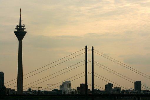Düsseldorf, City, Architecture, Rhine, Homes