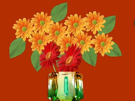 Vase, Jewel, Flowers