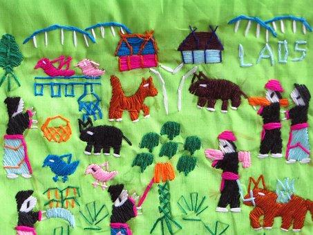 Laos, Folk Art, Embroidery, Silk Industry