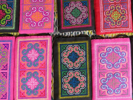 Laos, Embroidery, Silk Industry, Market, Colors, Pink
