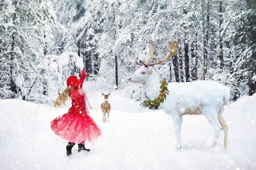 Winter, Little Girl Dancing, White Deer, Snow, Girl