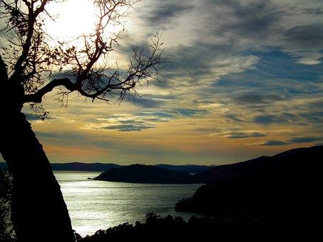 Sunset, Sea, Reflection, Rock, Méditerrannée, Seascape