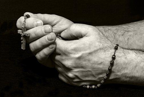 Prayer, Pray, Rosary, Hands, Religion, Faith, Cross