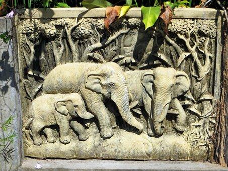 Laos, Vanvieng, Stone, Elephants, Sculpture, Folk Art
