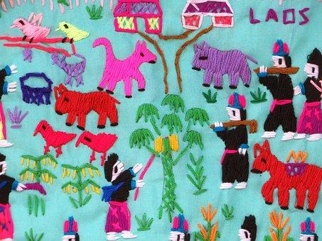 Laos, Folk Art, Embroidery, Silk Industry, Characters