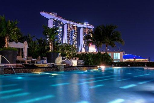 Singapore, Night, Architecture, Asia, Building