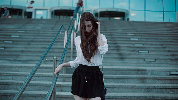 Photoshoot, Under The Moscow City, Black Skirt, Blouse