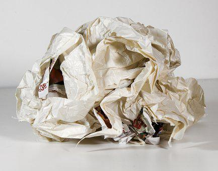 Paper Ball, Crumpled Paper Ball, Map, Used Paper