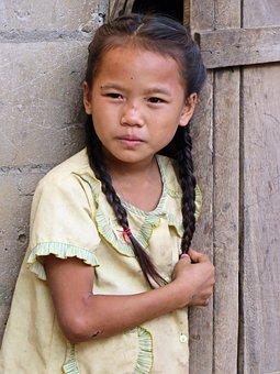 Laos, Little Girl, Hmong, Child, Village, Childhood