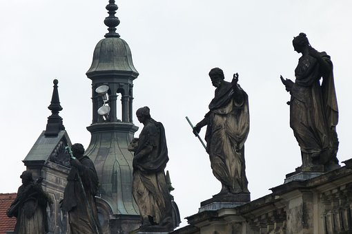 Dresden, City, Castle, Figures, Altrtuemlich