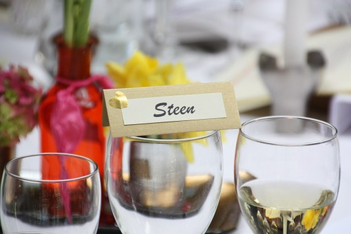 Celebration, Placecard, Wine, Wine Glasses