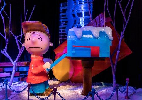 Ice Sculpture, Charlie Brown, Christmas Tree, Cute