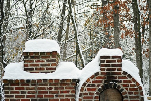 Winter, Red, Brick, Fireplace, Oven, Outside, December