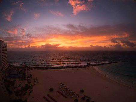 Sunset, Sky, Beach, Sun, At Dusk, Sea, Mexico