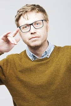Man, Startup, Glasses, Bart, Young, Blond, Portrait
