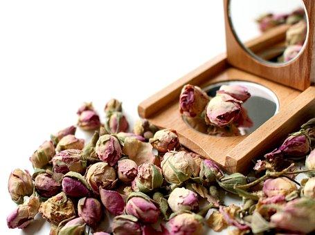 Mirror, Wood Mirror, Roses, Bud, Rose Bud, Blossom