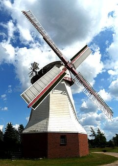 Wind, Mill, Wing, Clouds, Eyendorf, Blue, Sky