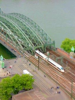 Miniature, Aerial View, Water, Bridge, Train, Ice