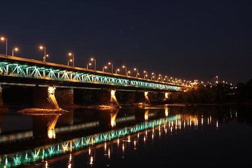 Bridge, River, Night, Water, Panorama, Nature, Wisla