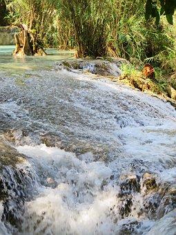 Laos, If Kwang, Cascade, Fall, Waterfall, Palm Water