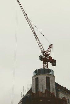 London, Construction Work, Crane, Building, Sky