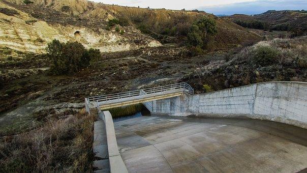 Dam, Overflow, Landscape, Valley, Riverbed, Empty