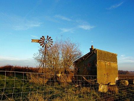 Windmill, Fall, Seine Et Marne, Field