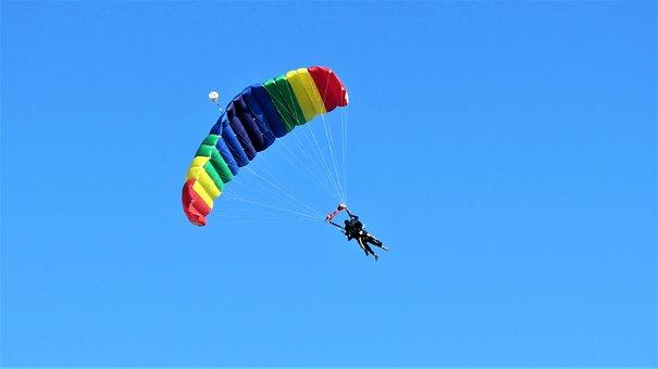 Paragliding, Parachute, Plane, Jump, Float, Double Jump