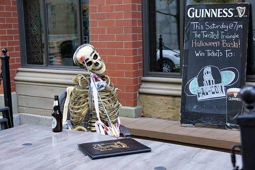 Skeleton, Dead, Bar, Halloween, Addiction, Alcohol