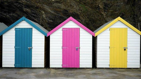 Beach Hut, Colourful, Beach, Hut, Summer, Colorful