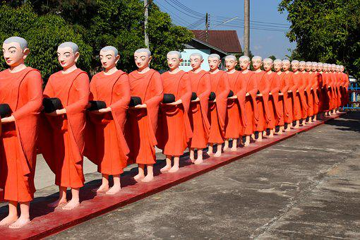 Monks, Myanmar, Orange Robes, Asia, Buddhist, Religion