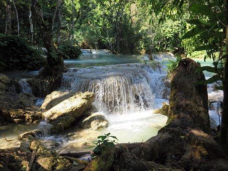 Laos, If Kwang, Waterfall, Cascade, River, Waterfalls