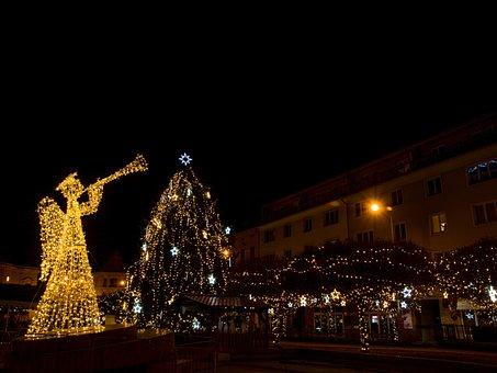 Angel, Christmas, Sapling, Tree, Garnished With