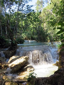 Laos, If Kwang, Cascade, Waterfall, Basin, Waterfalls