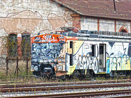 Train, Comboy, Graffiti, Abandoned, Vandalism