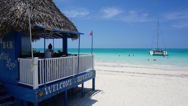 Cuba, Cayo Coco, Playa Pilar, Beach, Bar, Boat, White