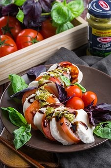Salad, Caprese, Mozzarella, Cheese, Vegetables, Food