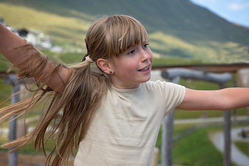Child, Girl, Out, In Motion, Play, Move, Nature
