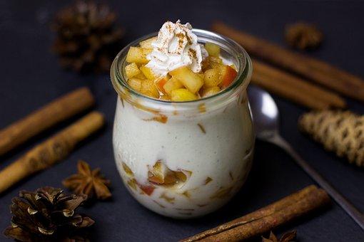 Dessert, Apple, Baked Apple, Vanilla, Yogurt, Cream