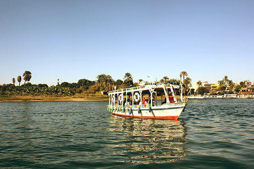 Nile, Egypt, Luxor, Boat, Tourists