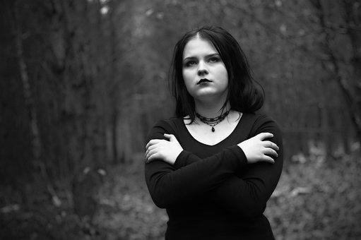 Girl, Depression, Forest, Sadness, Hair